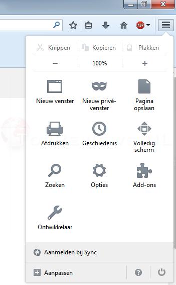 Firefox Menu Instellingen