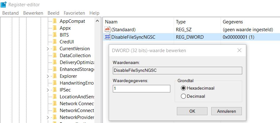 Register OneDrive Uitschakelen - DisableFileSyncNGSC