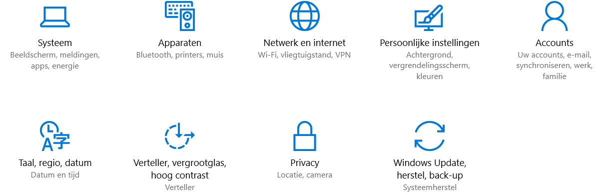 Windows 10 Instellingen Menu
