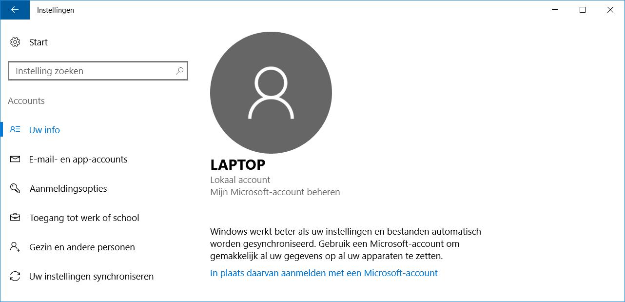 Windows 10 Account aanpassen